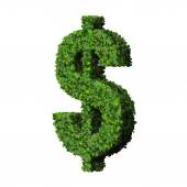 Dollar (currency) symbol or sign made from green leaves isolated on white background. 3d render. — Stock Photo