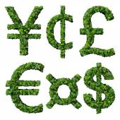 Money symbols: yen, cent, pound, euro, dollar, currency, made from green leaves isolated on white background. 3d render. — Stock Photo