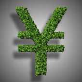 Yen (currency) symbol or sign made from green leaves isolated on white background. 3d render — Stock Photo