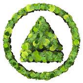 媒体控制弹出由孤立的白色背景上的绿色树叶制成。3d 渲染. — 图库照片