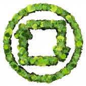 Media control repeat, loop icon made from green leaves isolated on white background. 3D render. — Stock Photo