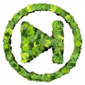 Media control step backward or forward eco icon, made from green leaves isolated on white background. 3D render. — Stock Photo