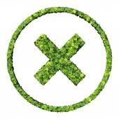 Media control x, error, exit icon, made from green leaves isolated on white background. 3D render. — Stock Photo