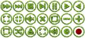 Media controls made from green leaves isolated on white background. 3D render. — Stock Photo