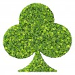 Playing card eco icon club, made from green leaves isolated on white background. 3D render. — Stock Photo #73219873