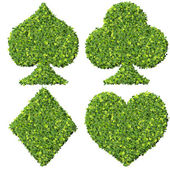 Playing card eco icon, spades, club, diamond, heart, made from green leaves. — Stockfoto
