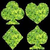 Playing card eco icon, spades, club, diamond, heart, made from green leaves. — Stock Photo
