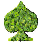 Playing card eco icon spades, made from green leaves isolated on solid background. 3D render. — Stock Photo
