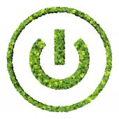 Media control turn off eco icon made from green leaves. — Stock fotografie