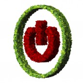 Media control turn off eco icon made from green leaves. — Stock Photo