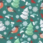 Winter birds blue pattern — Stock Vector