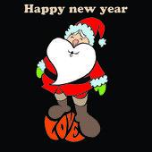 Santa with love black background — Stock Photo
