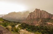 Fog in Zion Canyon — Stock Photo