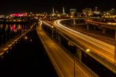 Bridge over the Willamette RIver at Night — Stock Photo