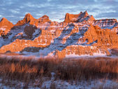 Rugged Peaks in the Badlands in Winter — Stock Photo