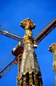 Towers of the Sagrada Familia Cathedral in front of blue sky in Barcelona — Stock Photo