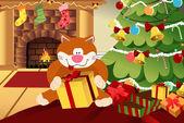 Christmas сat — Stock Vector