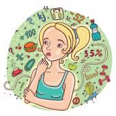 Diet girl illustration. — Stockvektor