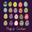 Happy Easter colored eggs white background. — Stock Vector #57812167
