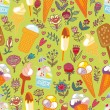 Ice cream and flowers green seamless pattern — Stock Vector #57812227