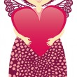 Pink angel with a big heart — Stock Vector #57812641