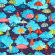 Clouds and umbrellas night seamless pattern — Stock Vector #57812841