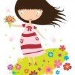 Happy girl walks on the flower field. — Stock Vector #57812897