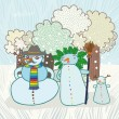 Family of snowmen in a forest card — Stock Vector #57814913