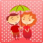 Boy and girl under umbrella. — Stock Vector #57815365