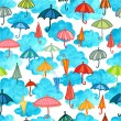 Clouds and umbrellas day seamless pattern — Stock Vector #57816933