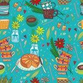 Beautiful morning tea blue seamless pattern — Stock Vector