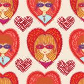любовный карнавал бесшовный образец — Cтоковый вектор