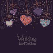 Dark purple wedding invitation with hanging hearts — Wektor stockowy