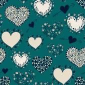 Bright cartoon hearts blue seamless pattern — Wektor stockowy