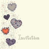 Hearts and bows bright invitation — Wektor stockowy