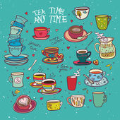 Tea time any time color collection blue background — Stock Vector