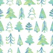Green Christmas tree seamless pattern — Stock Vector
