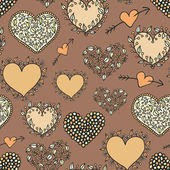 Cartoon hearts beige seamless pattern — Stock Vector