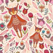 Cute seamless pattern with owl girl — Vecteur