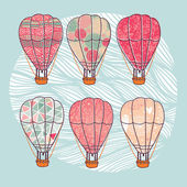 Vintage patterned air balloons set — Stock Vector