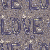 Beige vintage love seamless pattern. — Stock Vector