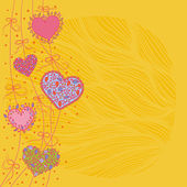 Hearts and bows yellow background — Cтоковый вектор