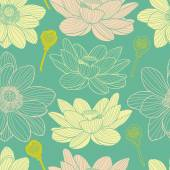 Water lilies beautiful seamless pattern — Stock Vector