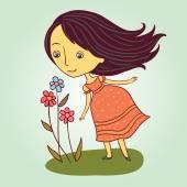 Girl sniffs a flower — Stock Vector