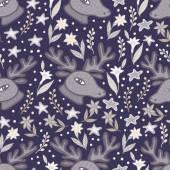 Deer head and flowers  seamless pattern — Stok Vektör