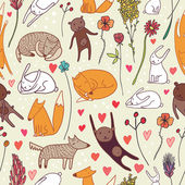 Cute animals seamless pattern — Stock Vector