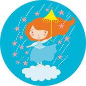 Girl in blue under the stars rain — Stock Vector
