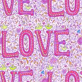 Pink love seamless pattern — 图库矢量图片