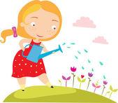 девочка в саду — Cтоковый вектор