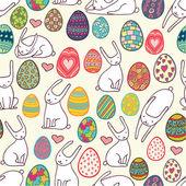 Patterned eggs and rabbits seamless pattern — Stockvektor